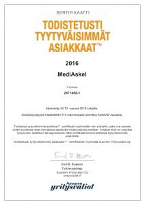 Todistetusti tyytyväisimmät asiakkaat -sertifikaatti